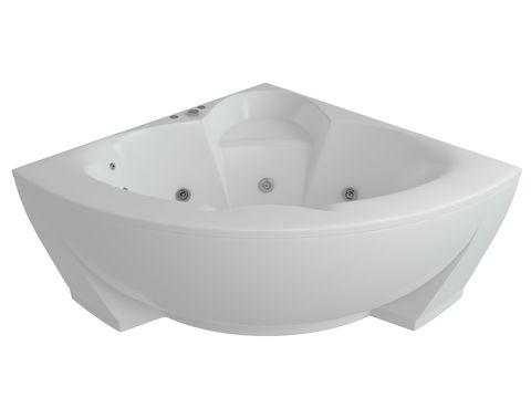 Ванна акриловая угловая Aquatek Поларис 140х140см. на каркасе и сливом-переливом