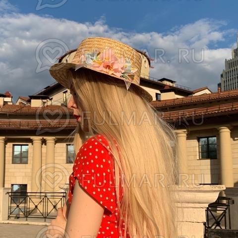 Оригинальная шляпа соломенная женская узкие поля с цветами