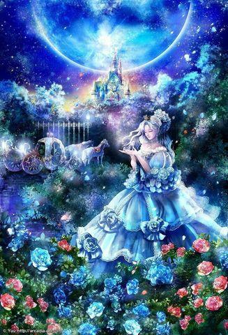 Алмазная Мозаика 30x40 Сказочный мир в голубых тонах
