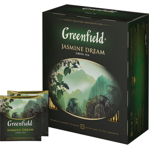 Чай Greenfield Jasmine Dream зеленый с жасмином 100 пакетиков