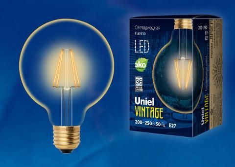 LED-G95-6W/GOLDEN/E27 GLV21GO Лампа светодиодная Vintage. Форма «шар», золотистая колба. Картон. ТМ Uniel
