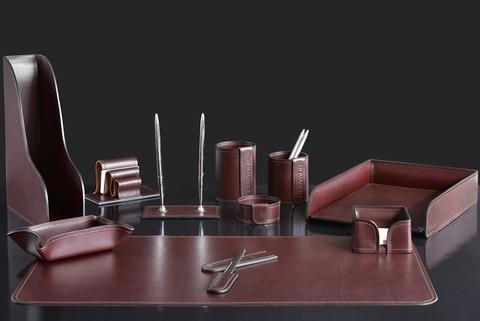 Lux набор на стол 11 предметов из кожи FG Brown