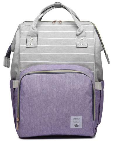 Сумка-рюкзак для Мам арт: 2106 Полоска + Сиреневый