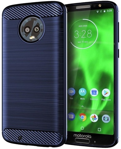 Чехол Motorola Moto G6 цвет Blue (синий), серия Carbon, Caseport