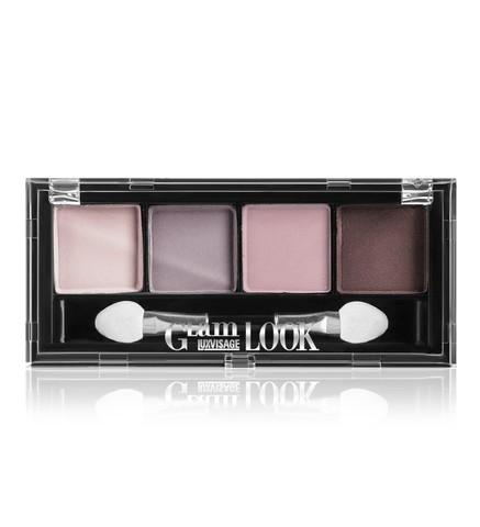 LuxVisage Glam Look Матовые тени для век 4-х цветные тон 4 (лиловая)