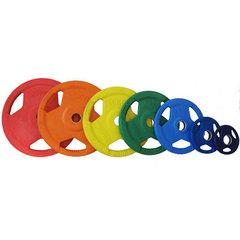 """Диск """"олимпийский"""" (50мм) 20 кг обрезиненный цветной с тройным хватом"""