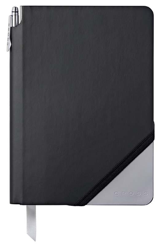 Записная книжка Cross Jot Zone, A5, 160 страниц в линейку, ручка в комплекте. Цвет - черно-серы
