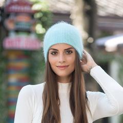 Зимняя шапка из пуха кролика (мятная)