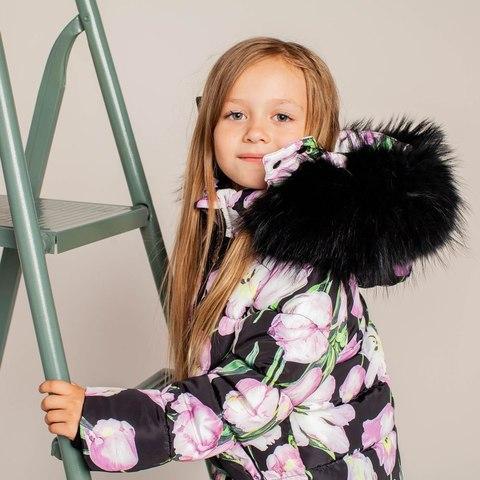 Детская зимняя куртка с авторским принтом  «Тюльпаны»