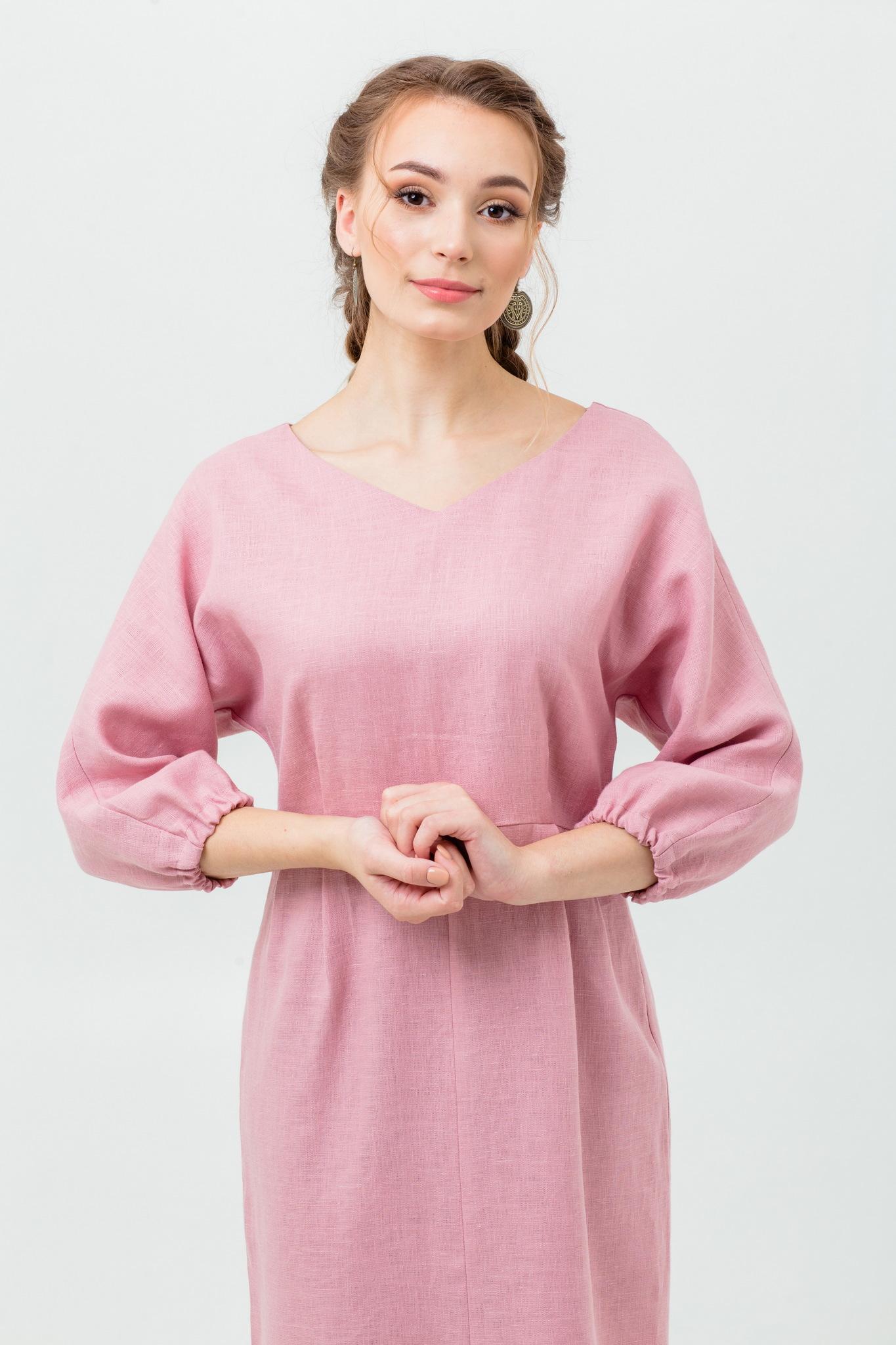 Славянское платье из льна Нежный румянец