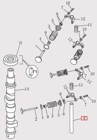 Вал рокера Φ9*Φ13*151 для лодочного мотора F9.8 Sea-PRO (4-8)