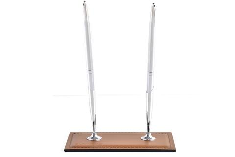 Подставка для двух ручек из кожи Табак / шоколад
