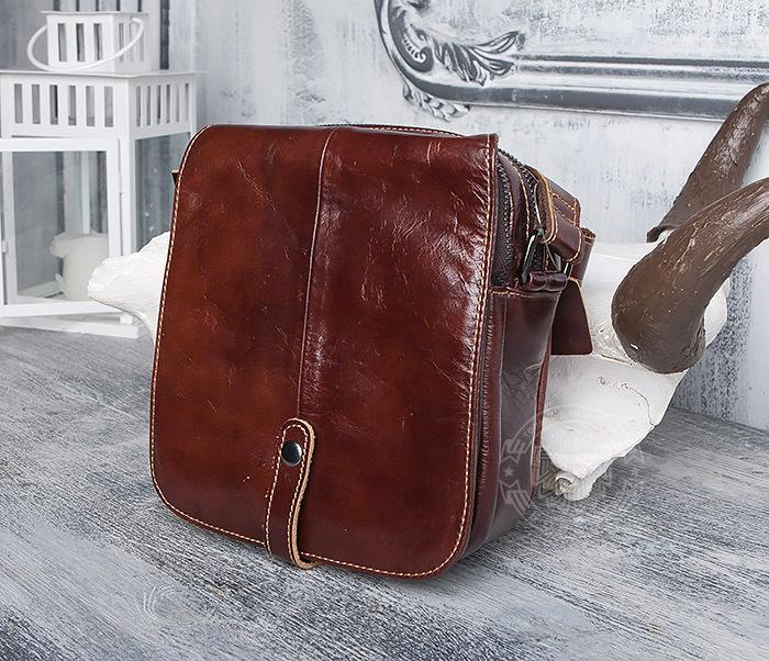 BAG402-2 Мужская городская сумка из натуральной кожи с ремнем на плечо фото 02