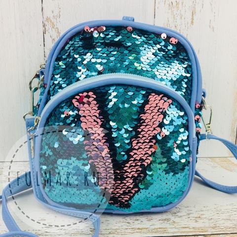 Рюкзак-сумка Трансформер с пайетками меняющие цвет Голубой-Розовый