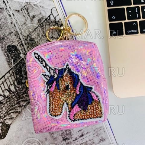 Брелок-кошелек голографический Мечтатель Единорог Розовый