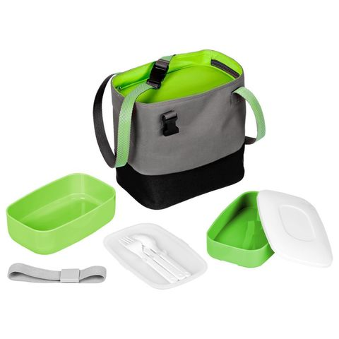 Takk Mamma Lunch Box Set in Thermo Bag, green