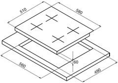 Варочная панель Korting HK 62051 BW схема встраивания
