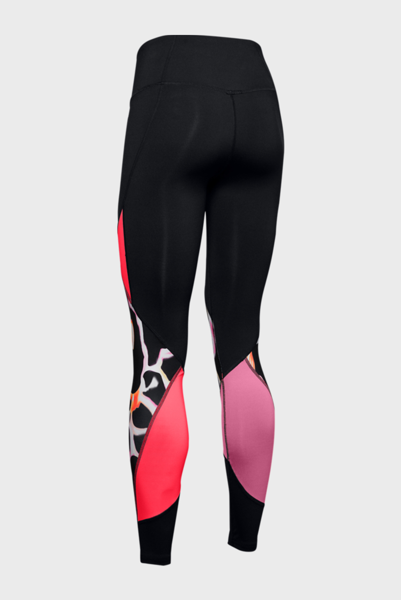 Женские черные тайтсы UA Rush Print Color Block Leggings Under Armour
