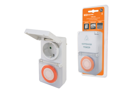 Таймер розеточный ТРМ-03-30мин/24ч-16А-IP44 (суточный, защита от влаги) TDM