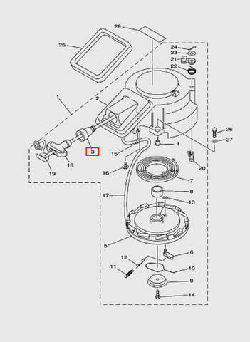 Направляющая веревки стартера  для лодочного мотора T15, OTH 9,9 SEA-PRO (7-3)