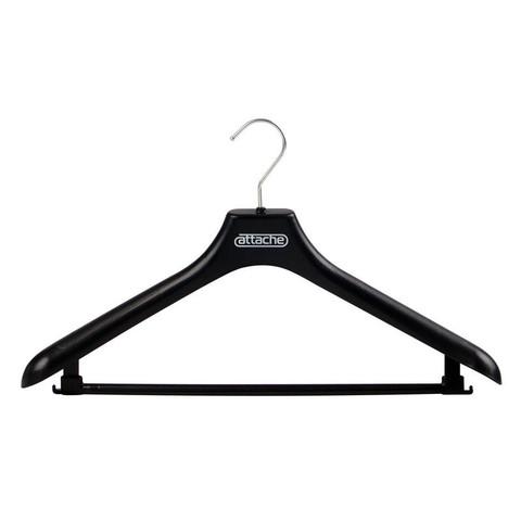 Вешалка-плечики пластмассовая Attache с перекладиной черная (размер 48-50)