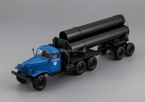 ZIL-157K-TV-5 pipe trucks with trailer pipes blue DIP 1:43