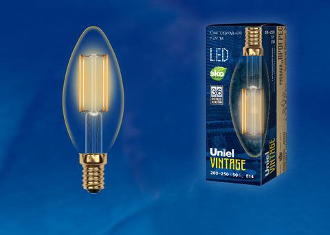 LED-C35-5W/GOLDEN/E14 GLV21GO Лампа светодиодная Vintage. Форма «свеча», золотистая колба. Картон. ТМ Uniel