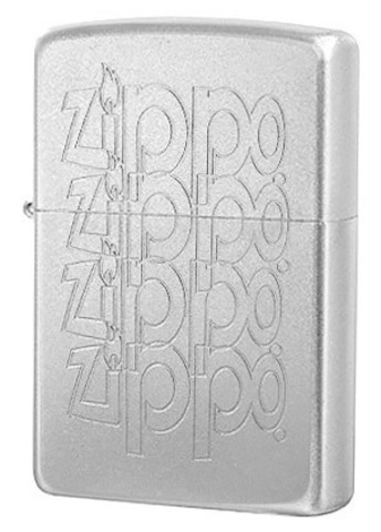 Зажигалка Zippo Logo с покрытием Satin Chrome™, латунь/сталь, серебристая, матовая, 36x12x56