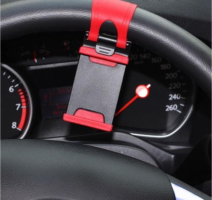 Держатель для телефона на руль для мобильных устройств 55-80 мм Красный фото