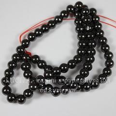 Бусина Гематит (искусств., категория A), шарик, цвет - черный, 6 мм, нить