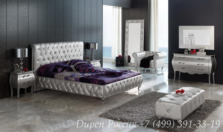 Кровать Dupen 623 LORENA, Тумбочка DUPEN M-95 серебро, Комод DUPEN C-95 серебро, Банкетка DUPEN В-5 серебро