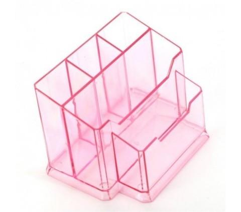 Подставка для кистей №77 прозрачно-розовая