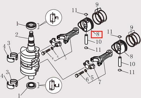 Поршень для лодочного мотора F9.8 Sea-PRO (10-8)