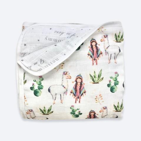 Муслиновое утеплённое одеяло Mjölk Ламы