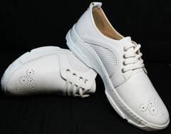 Летние кожаные кроссовки на каждый день женские Derem 18-104-04 All White.