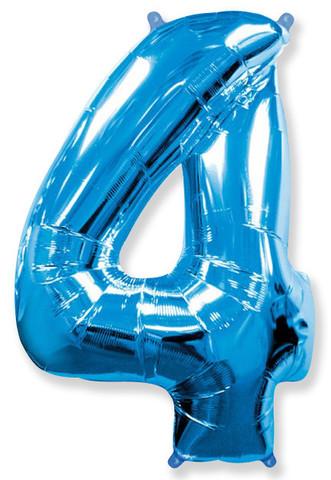 Воздушный шар (40''/102 см) Цифра, 4, Синий, 1 шт.