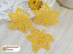 Фетровая вырубка лист рябины желтый