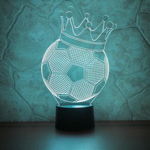 3D лампа Футбольный мяч с короной