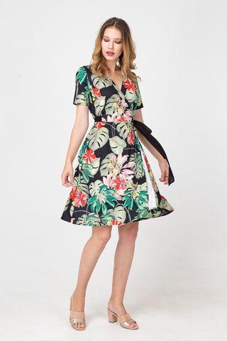 Фото платье на запах с экзотическим принтом - Платье З369-420 (1)