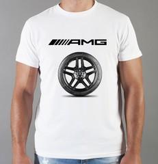 Футболка с принтом Mercedes-Benz (Мерседес-Бенц) белая 07