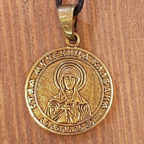 святая Клавдия именная нательная икона из бронзы кулон с молитвой