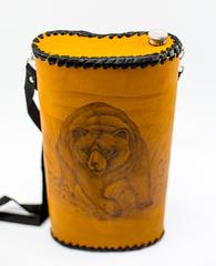 Фляга «Медведь», натуральная кожа с художественным выжиганием, 2 л, фото 2