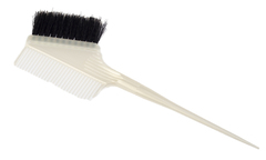 Кисть для окрашивания DEWAL, белая , с расческой и черно/белой щетиной ,узкая 55мм