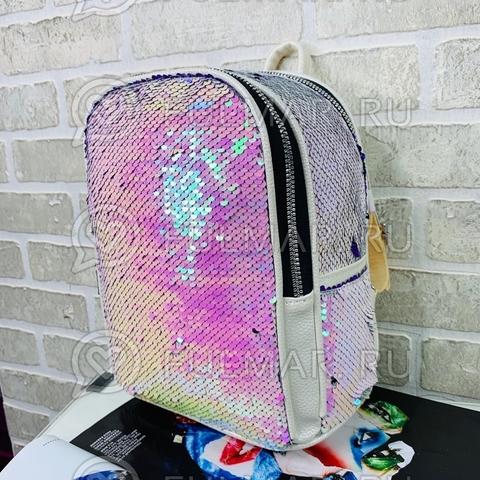 Рюкзак с пайетками меняющий цвет Перламутровый-Лиловый Mila