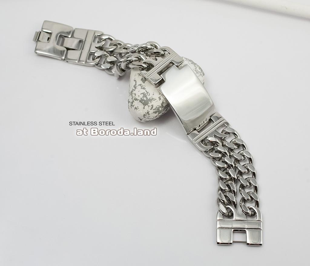 BM296 Массивный браслет - цепь с широкой гладкой пластиной (22 см) фото 02