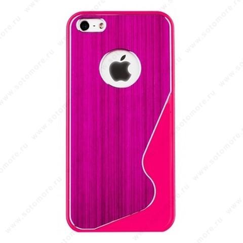Накладка R PULOKA для iPhone SE/ 5s/ 5C/ 5 металлическая с зигзагами с одной стороны ярко-розовая