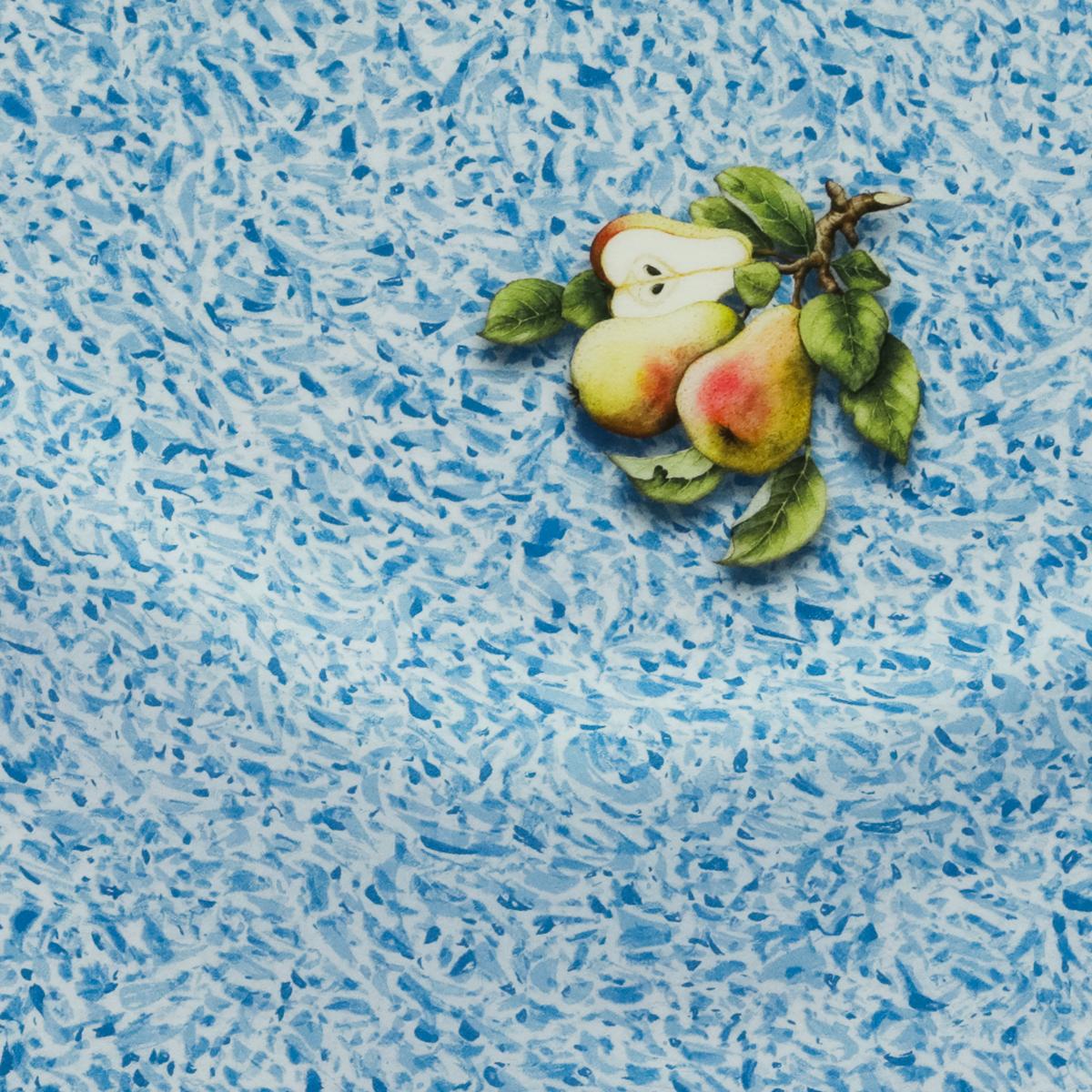 Пестрый бело-голубой шелковый купон с грушами