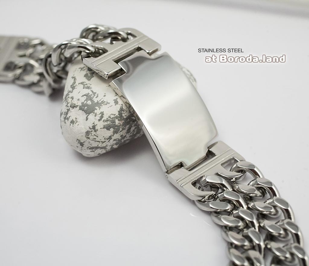 BM296 Массивный браслет - цепь с широкой гладкой пластиной (22 см) фото 03