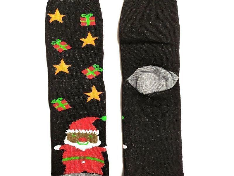 Новогодние носки теплые черные