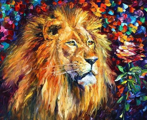 Картина раскраска по номерам 30x40 Задумчивый лев